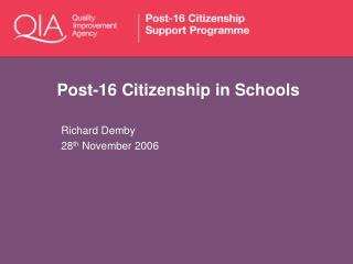 Post-16 Citizenship in Schools