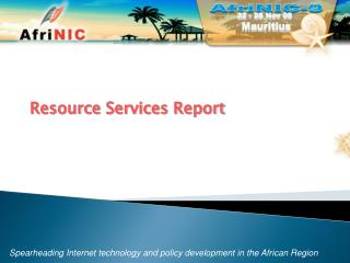Resource Services Report