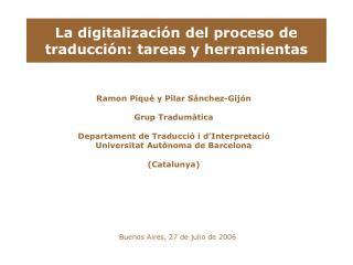 La digitalización del proceso de traducción: tareas y herramientas