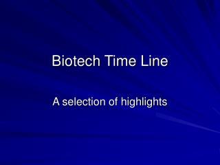 Biotech Time Line