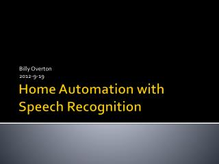Home Automation with Speech Recognition