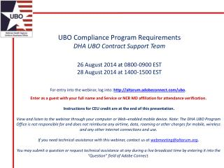 UBO Compliance Program Requirements DHA UBO Contract Support Team