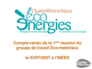 Énergies renouvelables     et maîtrise de l'énergie