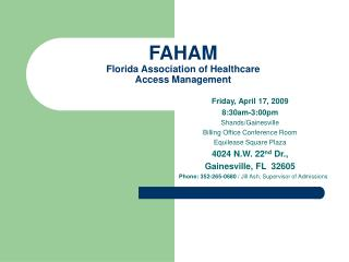 FAHAM Florida Association of Healthcare  Access Management