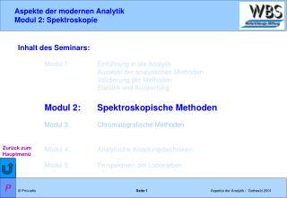Inhalt des Seminars: Modul 1: Einführung in die Analytik Auswahl der analytischen Methoden