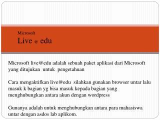 Microsoft  Live  @  edu