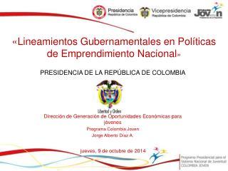 «Lineamientos Gubernamentales en Políticas de Emprendimiento Nacional »