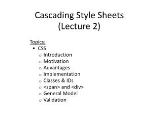 Cascading Style Sheets (Lecture 2)