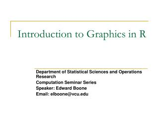 Introduction to Graphics in R