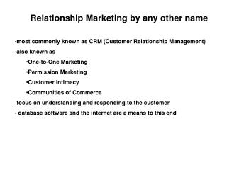 Relationship Marketing by any other name