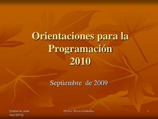 Orientaciones para la Programaci n 2010