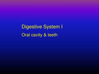 Digestive System I  Oral cavity & teeth