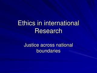 Ethics in international Research