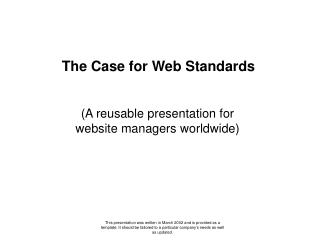 The Case for Web Standards