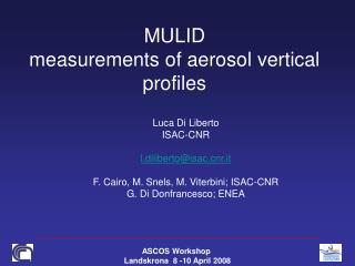 MULID measurements of aerosol vertical profiles