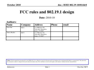 FCC rules and 802.19.1 design