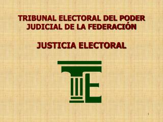 TRIBUNAL ELECTORAL DEL PODER JUDICIAL DE LA FEDERACIÓN
