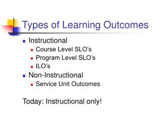 Types of Learning Outcomes