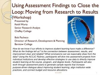 Using Assessment Findings to Close the Loop: Moving from Research to Results  (Workshop)