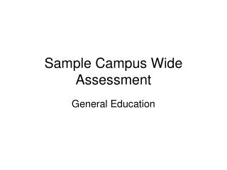 Sample Campus Wide Assessment