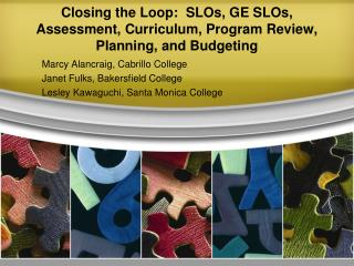 Closing the Loop:  SLOs, GE SLOs, Assessment, Curriculum, Program Review, Planning, and Budgeting