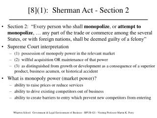 [8]1:  Sherman Act - Section 2