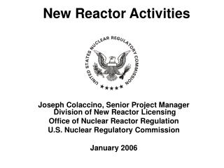 New Reactor Activities