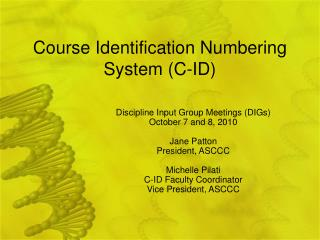 Course Identification Numbering System (C-ID)