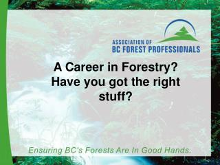 A Career in Forestry? Have you got the right stuff?