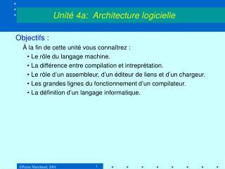 Objectifs : � la fin de cette unit� vous conna�trez : Le r�le du langage machine.