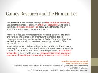 Games Research and the Humanities