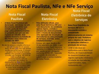 Nota Fiscal Paulista, NFe e NFe Servi o