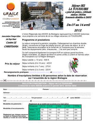 Du 07 au 14 avril 2012 
