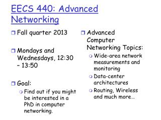 EECS 440: Advanced Networking