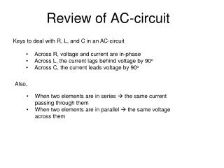 Review of AC-circuit