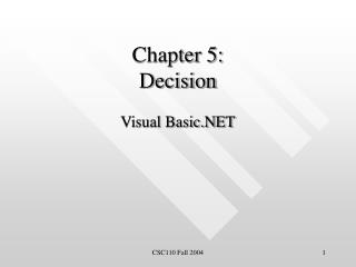 Chapter 5: Decision