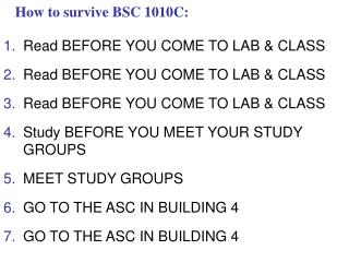 How to survive BSC 1010C: