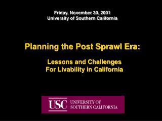 Planning the Post Sprawl Era:
