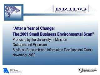 """After a Year of Change:  The 2001 Small Business Environmental Scan"""