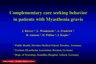 Complementary care seeking behavior  in patients with Myasthenia gravis