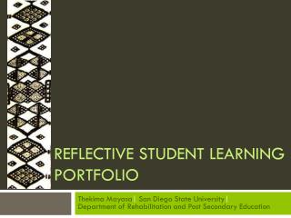 Reflective student learning Portfolio