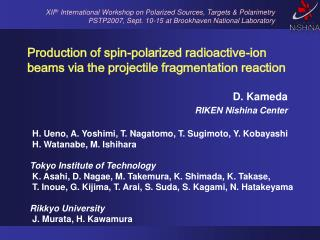 Production of spin-polarized radioactive-ion beams via the projectile fragmentation reaction