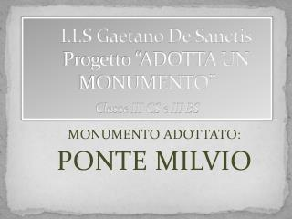 """I.I.S Gaetano De Sanctis       Progetto """"ADOTTA UN MONUMENTO""""  Classe III CS e III BS"""