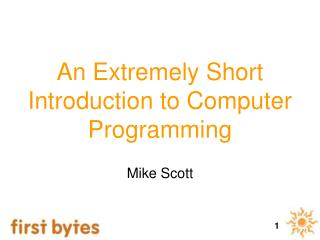 An Extremely Short Introduction to Computer Programming