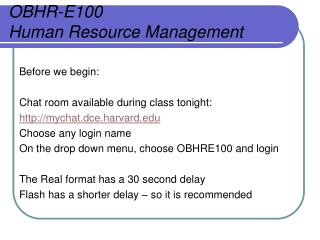 OBHR-E100 Human Resource Management