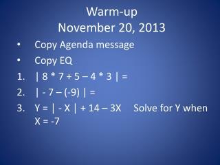 Warm-up November  20, 2013