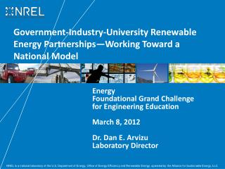 Government-Industry-University Renewable Energy Partnerships—Working Toward a National Model
