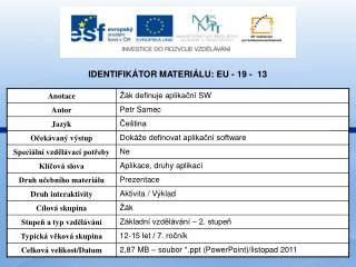 Identifikátor materiálu: EU - 19 -  13