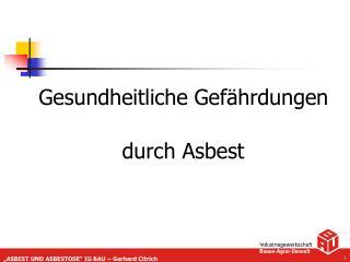 Gesundheitliche Gefährdungen durch Asbest