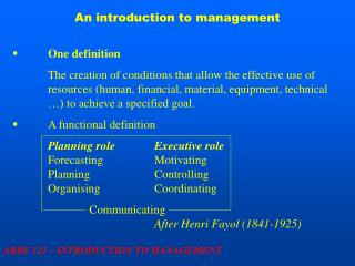 An introduction to management